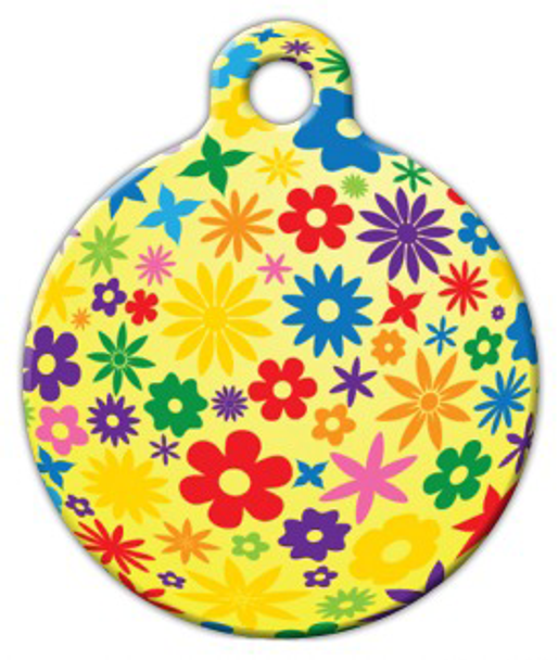 Dog Tag Art Yellow Flowery Pet ID Dog Tag
