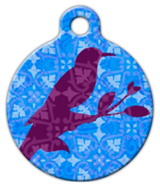 Dog Tag Art Indian Bird Batik Blue Pet ID Dog Tag