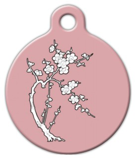 Dog Tag Art Zen Cherry Blossom Pet ID Dog Tag