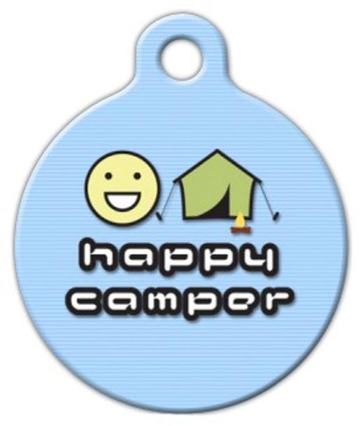 Dog Tag Art Happy Camper Pet ID Dog Tag