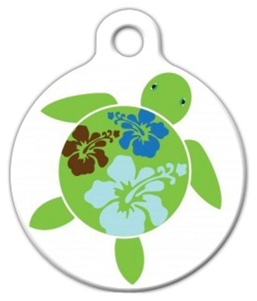 Dog Tag Art Hawaiian Hibuscus Turtle Pet ID Dog Tag