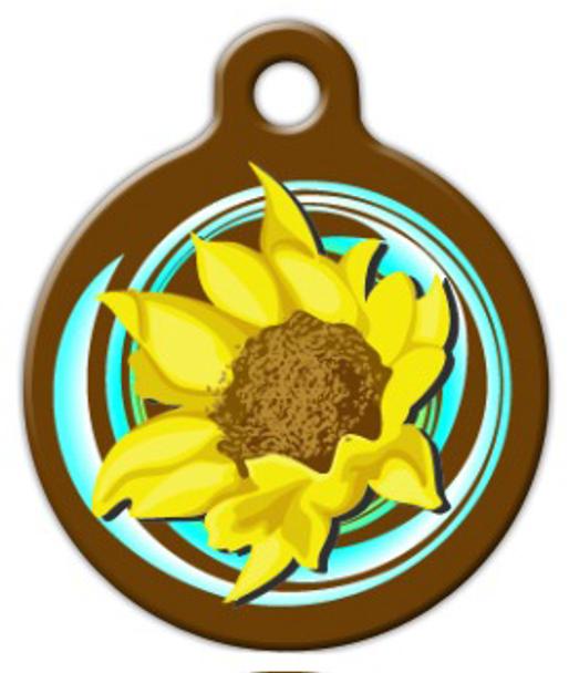 Dog Tag Art Sunflower Swirl Pet ID Dog Tag