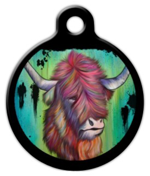 Dog Tag Art Long Haired Longhorn Pet ID Dog Tag