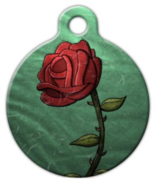 Dog Tag Art Single Rose Pet ID Dog Tag