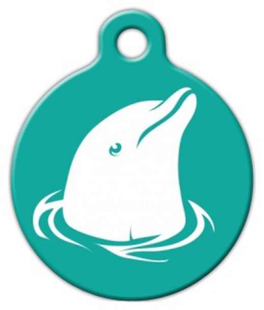 Dog Tag Art Dolphin in Teal Pet ID Dog Tag