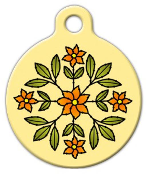 Dog Tag Art Floral Design Pet ID Dog Tag