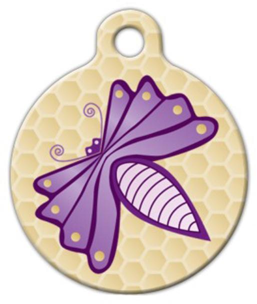 Dog Tag Art Purple Bug Pet ID Dog Tag