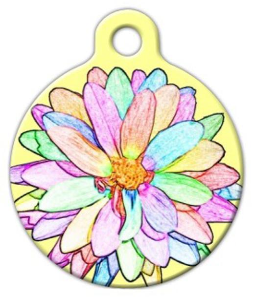 Dog Tag Art Sketched Flower Pet ID Dog Tag