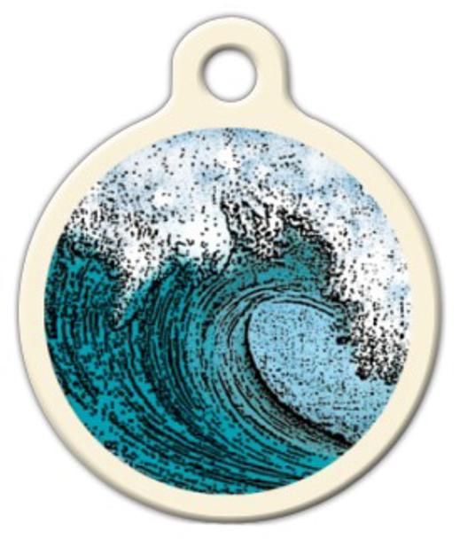 Dog Tag Art Surfin Wave Pet ID Dog Tag