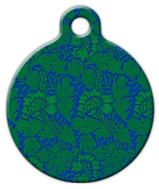 Dog Tag Art Green Flower Pattern Pet ID Dog Tag