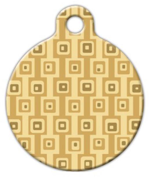 Dog Tag Art Brown Square Pattern Pet ID Dog Tag