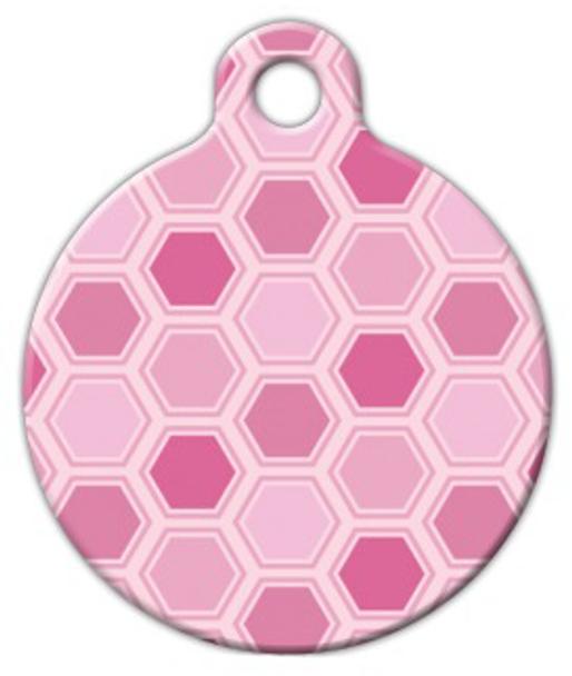 Dog Tag Art Pink Honeycomb Pattern Pet ID Dog Tag