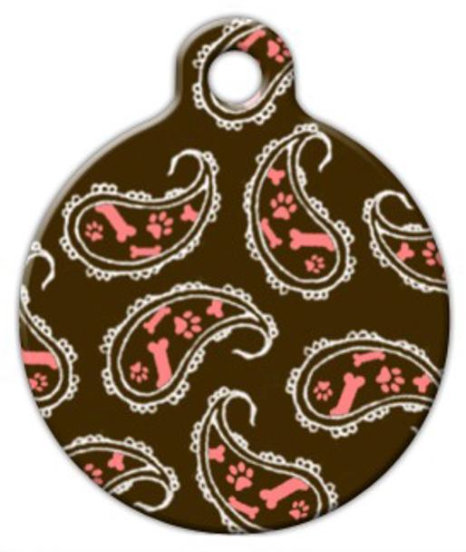 Dog Tag Art Pink Paisley Pet ID Dog Tag