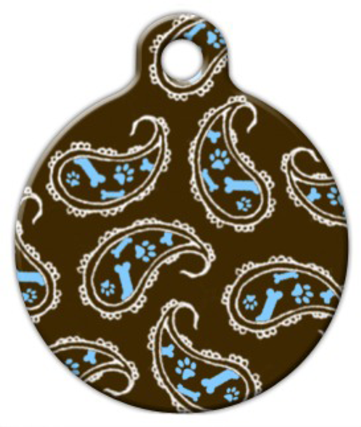 Dog Tag Art Blue Paisley Pet ID Dog Tag
