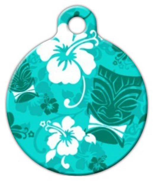Dog Tag Art Turquoise Tiki Pet ID Dog Tag