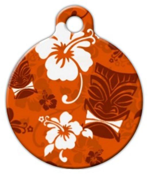 Dog Tag Art Orange Tiki Pet ID Dog Tag