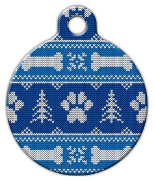Dog Tag Art Winter Blues Knit Pattern Pet ID Dog Tag