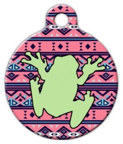 Dog Tag Art Boho Tribal Frog Pet ID Dog Tag