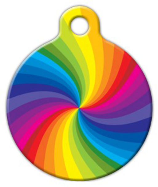 Dog Tag Art Rainbow Swirl Pet ID Dog Tag