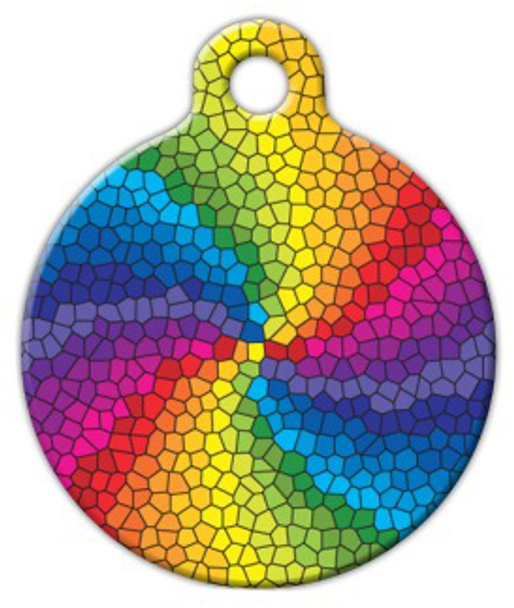 Dog Tag Art Stained Glass Rainbow Pet ID Dog Tag