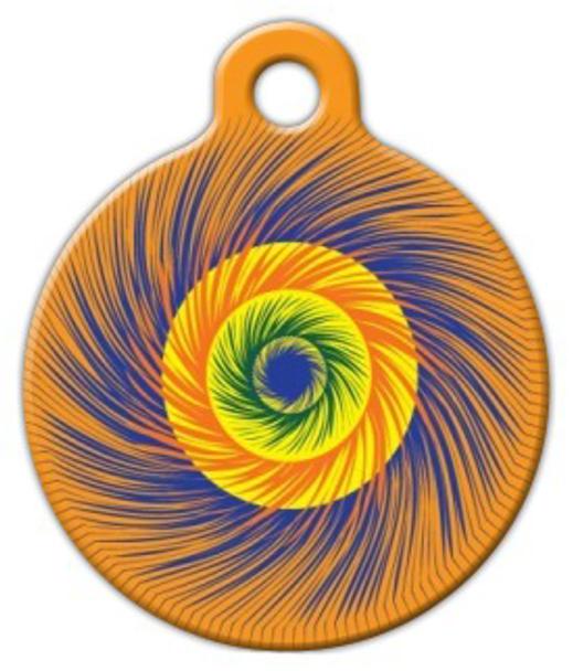 Dog Tag Art Swirly Colorful Sprial Pet ID Dog Tag