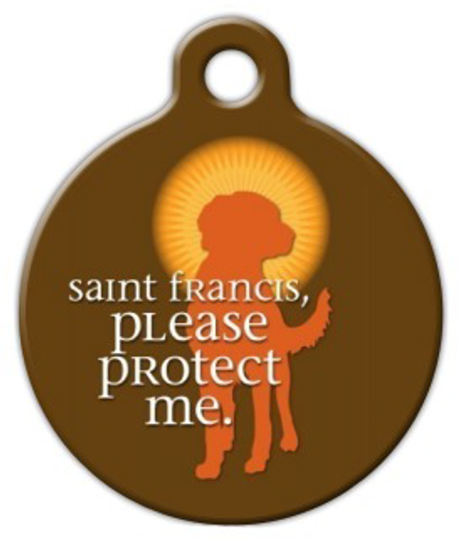 Dog Tag Art Saint Francis Protect Me Pet ID Dog Tag