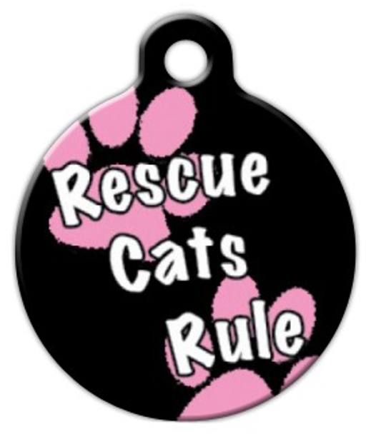 Dog Tag Art Rescue Cats Rule Girl Pet ID Dog Tag