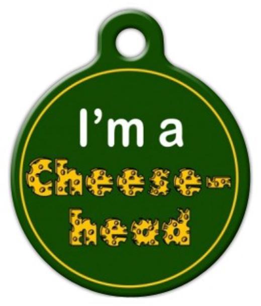 Dog Tag Art Green Bay Packers Cheese Head Pet ID Dog Tag