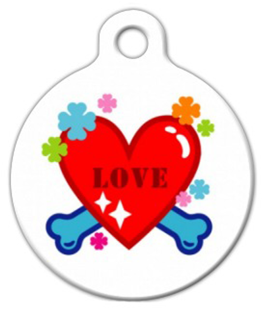 Dog Tag Art Love Heart and Bones Pet ID Dog Tag