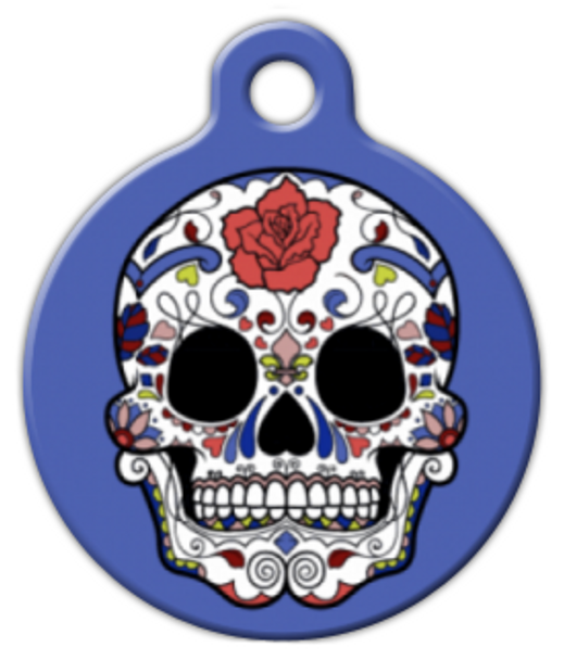 Dog Tag Art Blue Sugar Skull Pet ID Dog Tag