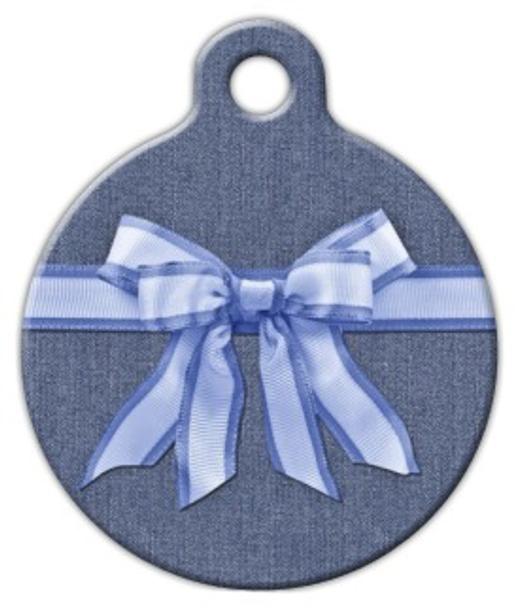 Dog Tag Art Blue Bow on Denim Pet ID Dog Tag
