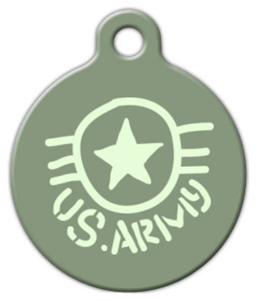 Dog Tag Art Hand Drawn US Army Design Pet ID Dog Tag