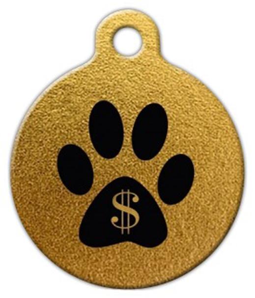 Dog Tag Art Gold Gangsta Paw Pet ID Dog Tag