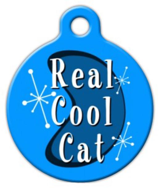 Dog Tag Art Retro Real Cool Cat Pet ID Dog Tag