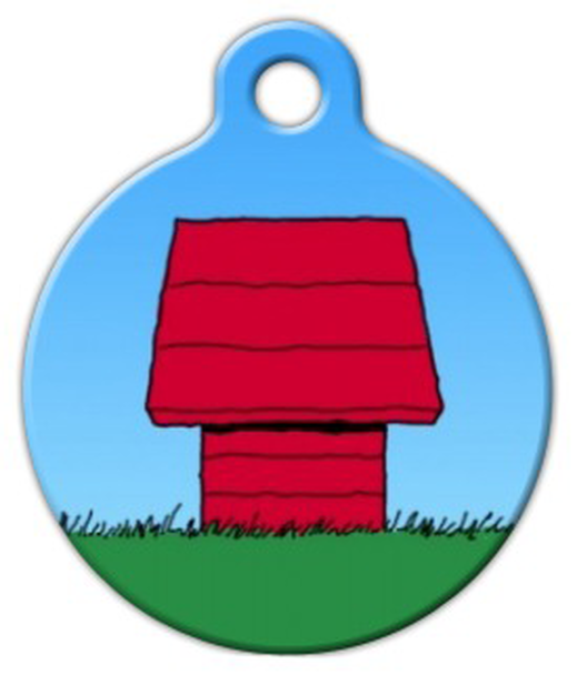 Dog Tag Art Red Dog House Pet ID Dog Tag