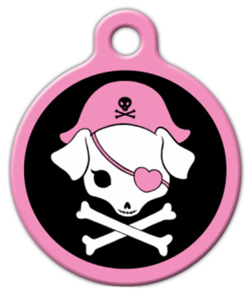 Dog Tag Art Pink Pirate Pet ID Dog Tag