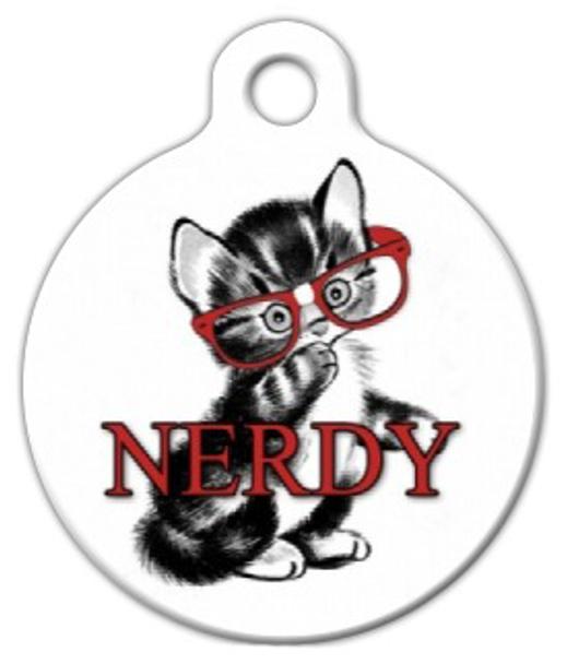 Dog Tag Art Nerdy Kitten Pet ID Dog Tag