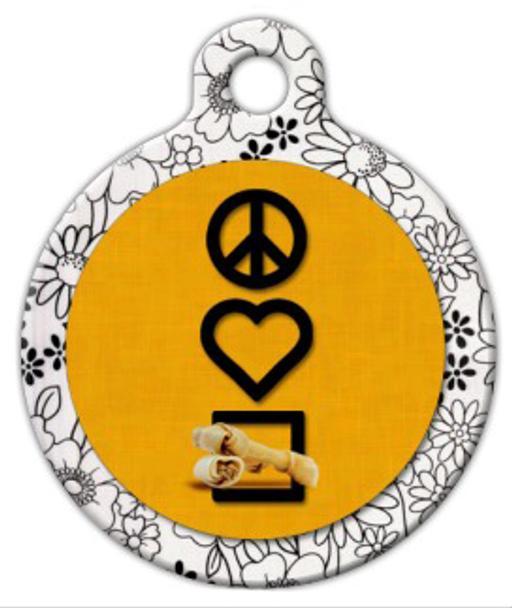 Dog Tag Art Peace, Love and Rawhe Chewies Pet ID Dog Tag