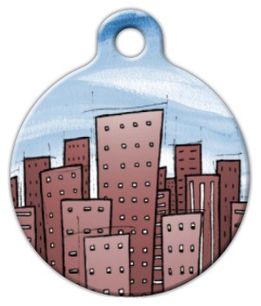 Dog Tag Art Cityscape Pet ID Dog Tag