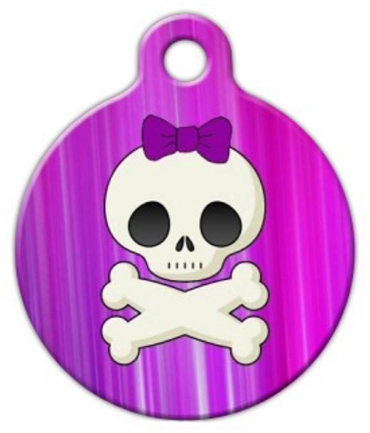 Dog Tag Art Girlie Skull Pet ID Dog Tag