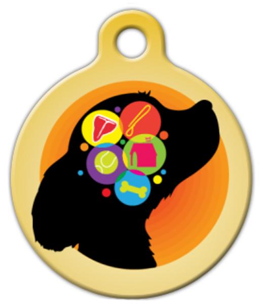 Dog Tag Art Dog Brain in Yellow Pet ID Dog Tag
