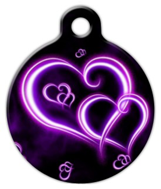 Dog Tag Art Neon Purple Hearts Pet ID Dog Tag