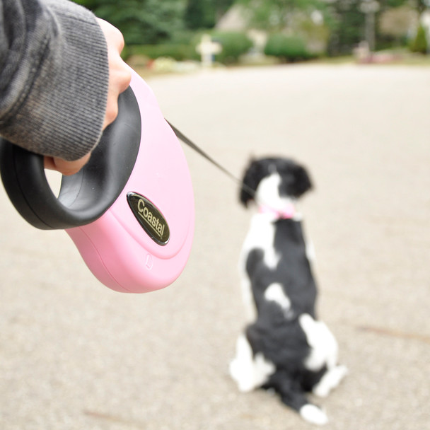 Power Walker by Coastal Pet Retractable Leash With Reflective Stitching Walking Dog Pink