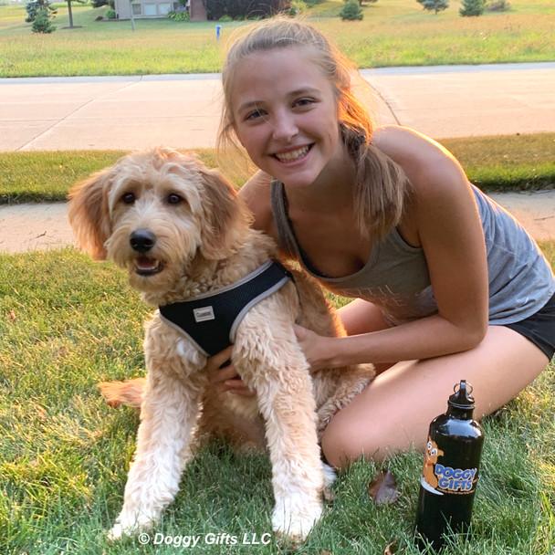 Mylo and Cailin having fun wearing reflective dog harness