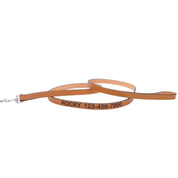 Coastal Pet Circle T Oak Tanned Leather Dog Leash Personalized