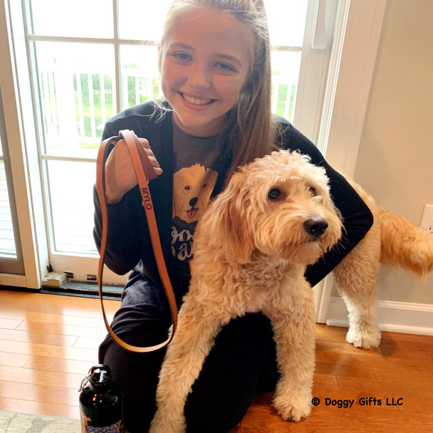 Personalized Circle T leather dog leash is great for taking a walk