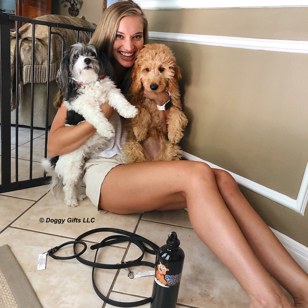 Stella and Ellie and their mom wearing Circle T Oak Tanned Leather leash and collars