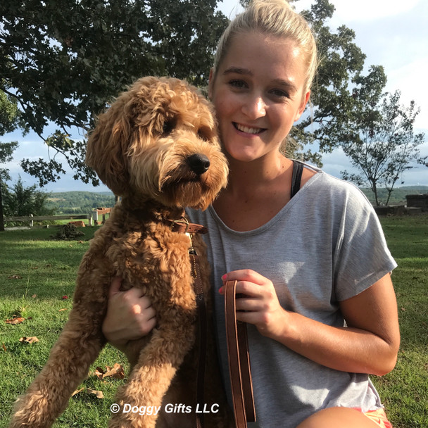 Sammy wearing Circle T Leather Rustic Dog Collar and Leash With Mom