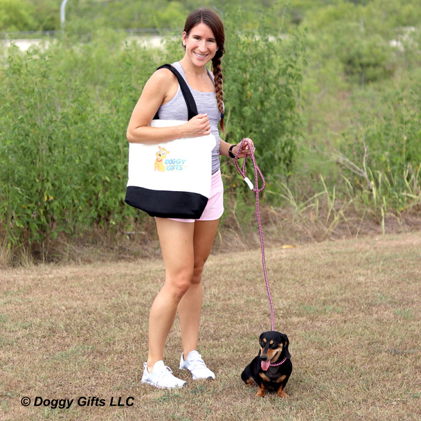 Sadie and her mom on a walk wearing Coastal Pet K9 Explorer Slip Rope Leash