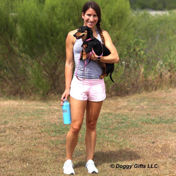 Sadie and her mom taking a walk wearing Coastal Pet K9 Explorer Collar and Leash